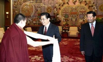 Hu Jintao i Gjalcen Norbu, luty 2005